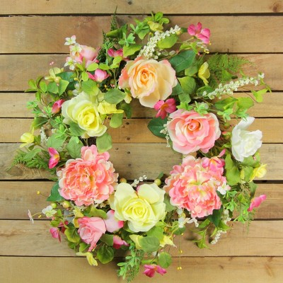 Northlight Rose And Peony Floral Artificial Spring Wreath, Pink And Yellow  22 Inch