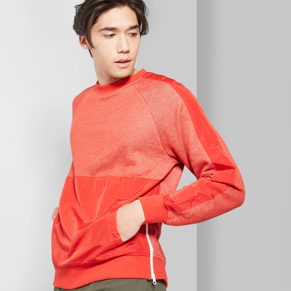 Men's Long Sleeve Mixed Media French Terry Pullover Sweatshirt - Original Use & Co Anthem Red M, Orange
