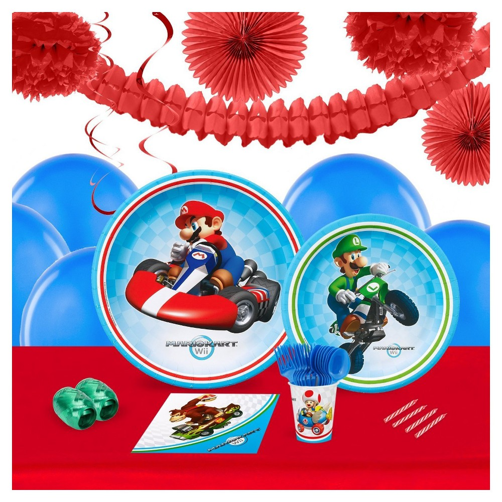Mario Kart Wii 16 Guest Party Pk with Decoration Kit