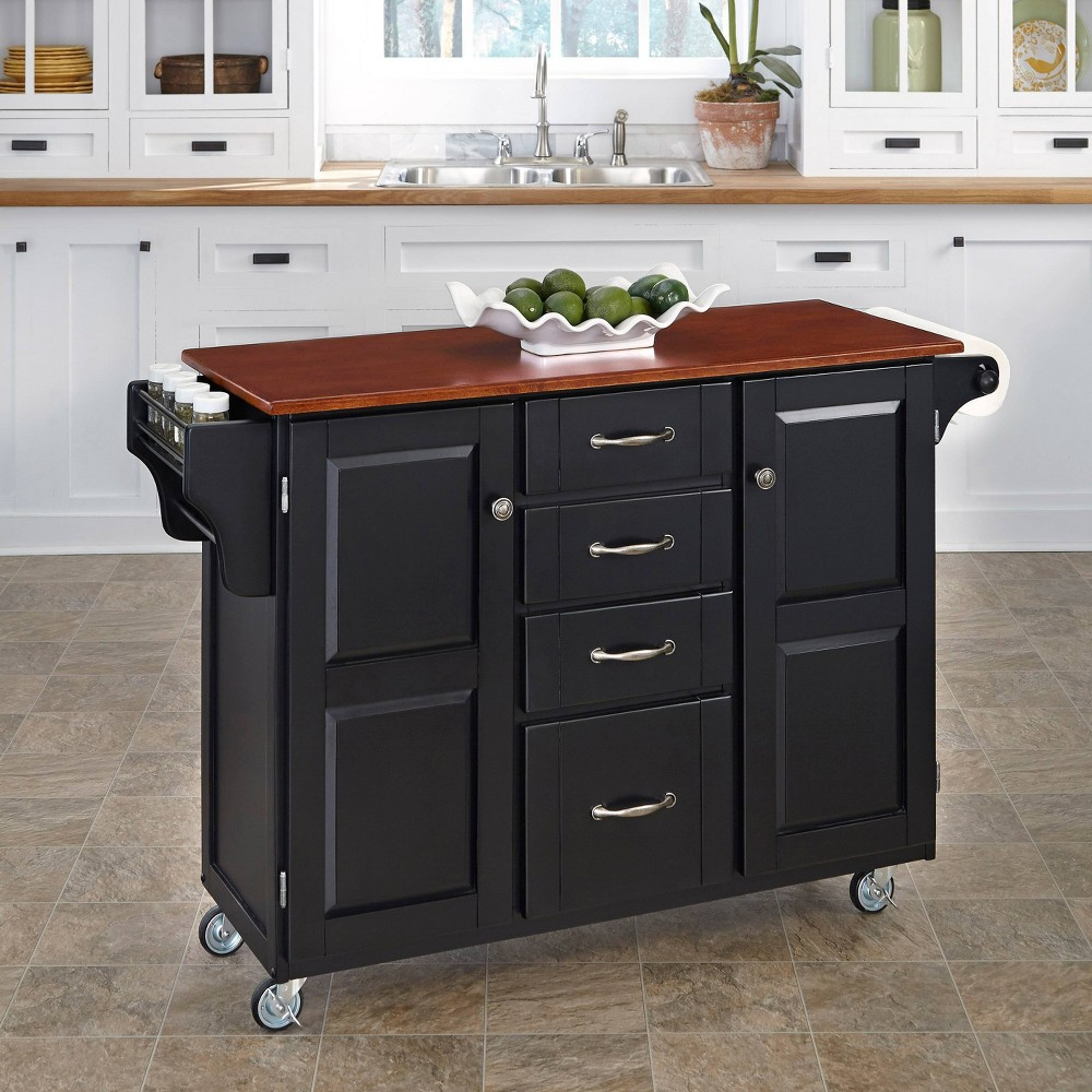 Kitchen Carts And Islands with Wood Top Black/Brown - Home Styles