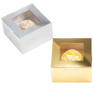 """Juvale 24-Pack Paper Cupcake Boxes Individual - Pastry Box Take Out Containers with Insert & Window, Metallic Gold & Silver Foil, 5""""x3""""x5"""""""