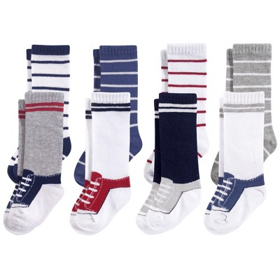 Hudson Baby Infant Boy Cotton Rich Knee-High Socks, Sneaker Blue Red