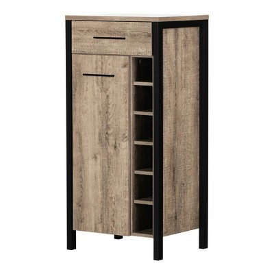 Munich Bar Cabinet with Storage Weathered Oak and Matte Black - South Shore
