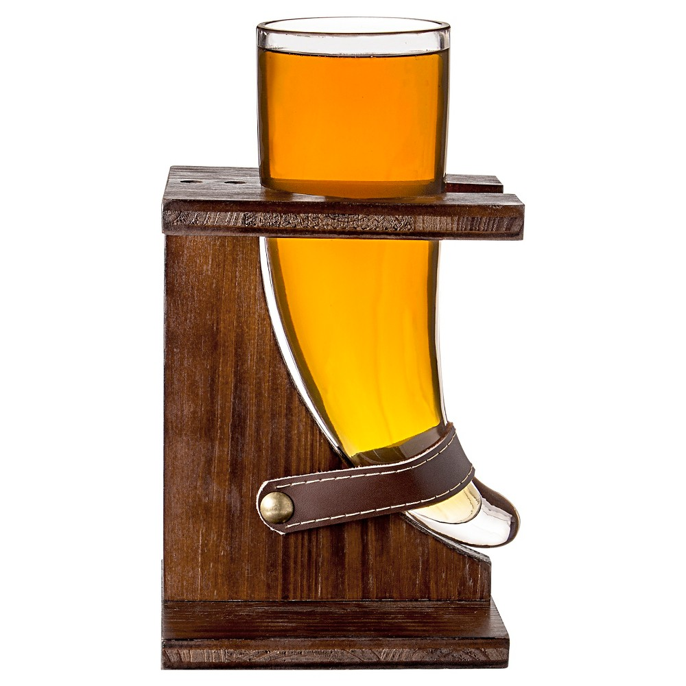 Cathy's Concepts 16 oz. Glass Viking Beer Horn with Rustic Stand, Clear