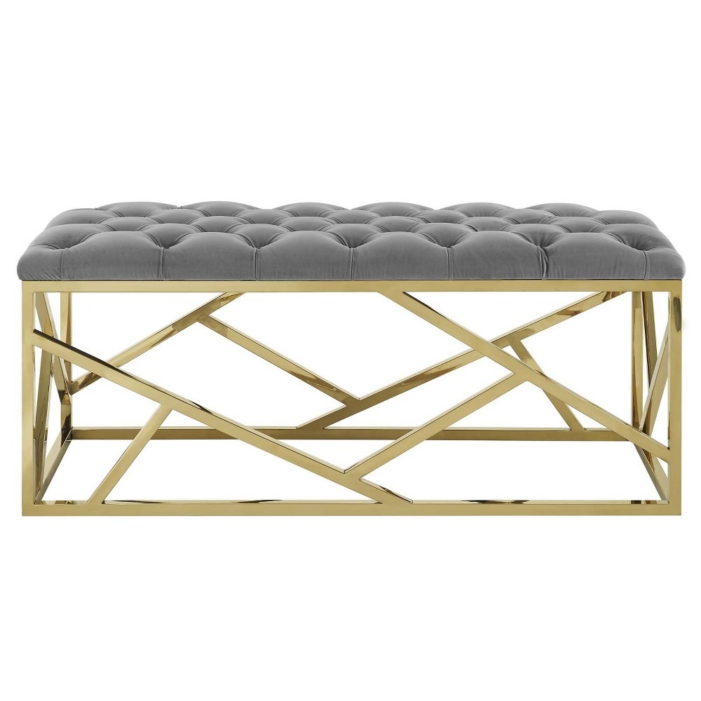 Intersperse Bench Gold Gray - Modway