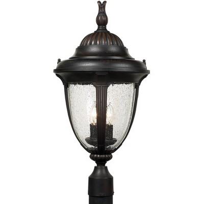 "John Timberland Traditional Post Light Fixture Bronze 24 1/2"" Clear Seedy Glass Lantern for Exterior Garden Yard Patio Driveway"