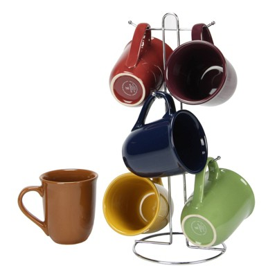 Gibson Home 7pc Stoneware Cafe Amaretto Mug Set with Wire Rack