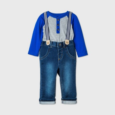 Baby Boys' 2pc Knit Denim Top & Bottom Set - Cat & Jack™ Gray 0-3M