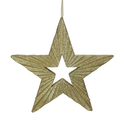 """Ganz 16.5"""" Gold Shimmering Five-Point Star Christmas Ornament"""