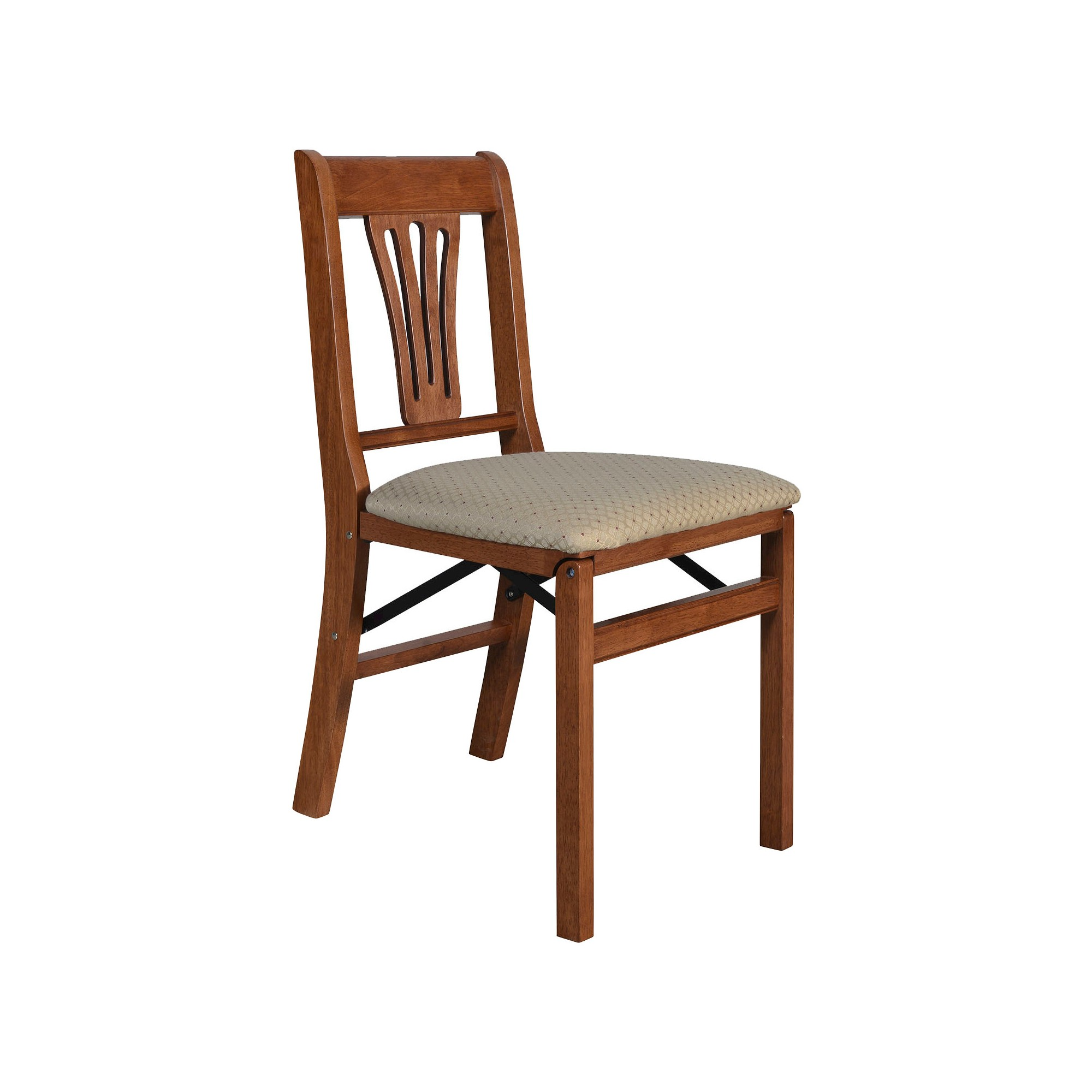 Stakmore Folding Chair with Blush Seat - Cherry (Set of 2) , Brown