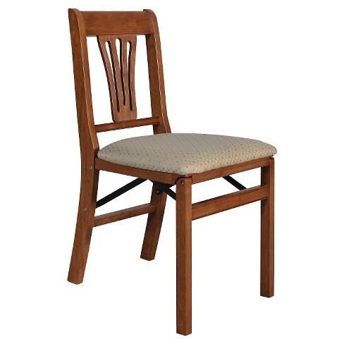 Groovy Stakmore Folding Chair With Blush Seat Cherry Set Of 2 Frankydiablos Diy Chair Ideas Frankydiabloscom