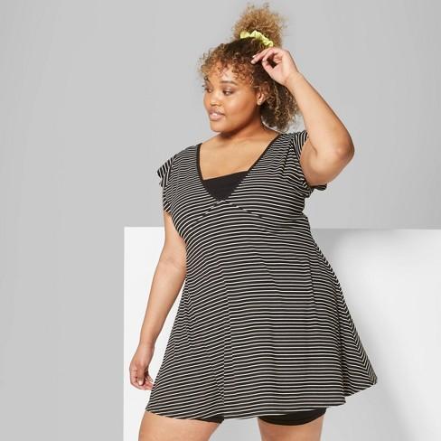e7074db0bbf Women s Plus Size Striped Flutter Short Sleeve V-Neck Solid Skater Dress -  Wild Fable™ Black White   Target