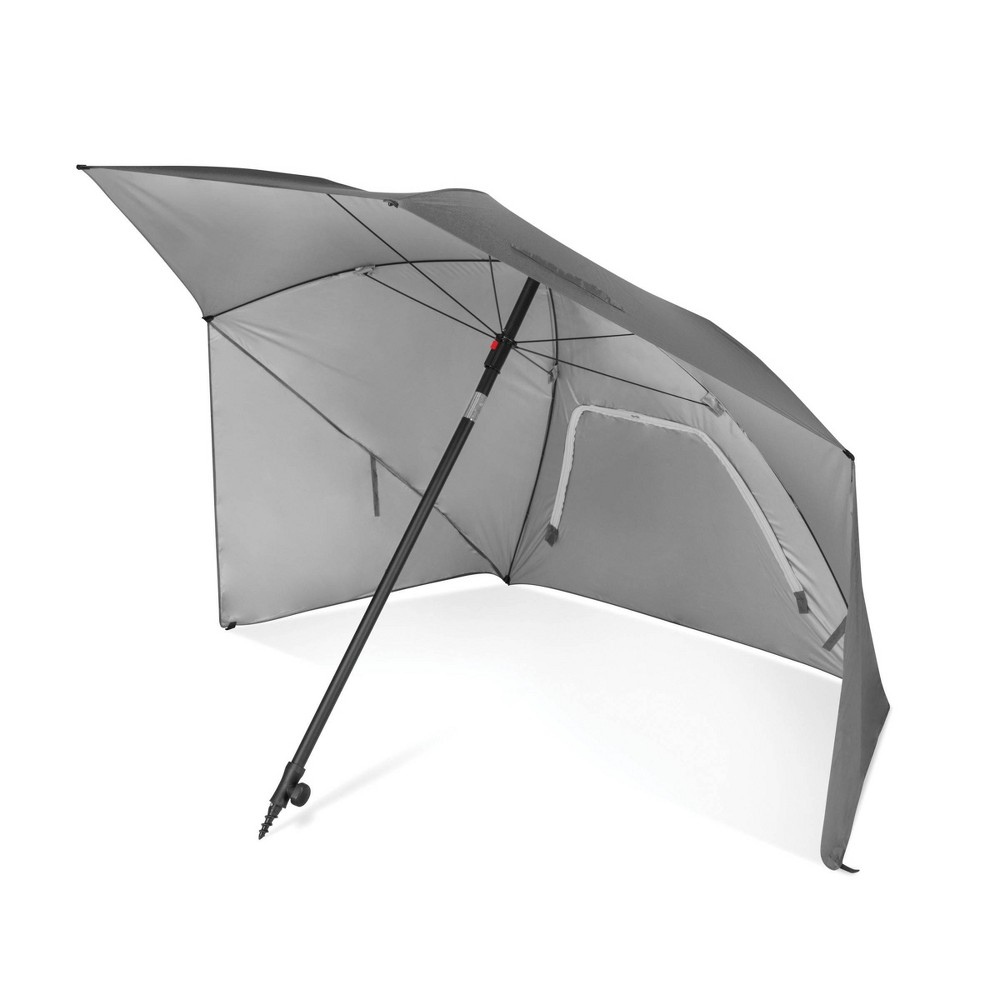 Sport-Brella Ultra Canopy - Gray The 8 foot Sport-Brella Ultra is the easiest maximum protection shelter to keep you protected from the sun, wind, and rain. It is lined with a Upf 50+ undercoating that blocks harmful Uva and Uvb rays. Durable center pole has a built-in auger tip to easily anchor into most surfaces and adjusts for maximum shade. Zippered windows allow air to flow through and prevent umbrella from blowing away. Reinforced carry bag and ground stakes included. Color: Gray.