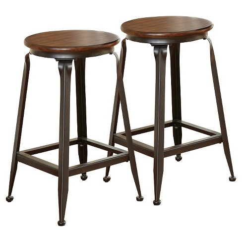 Miraculous Addison 24 Counter Stool Metal Brown Set Of 2 Steve Silver Co Ibusinesslaw Wood Chair Design Ideas Ibusinesslaworg
