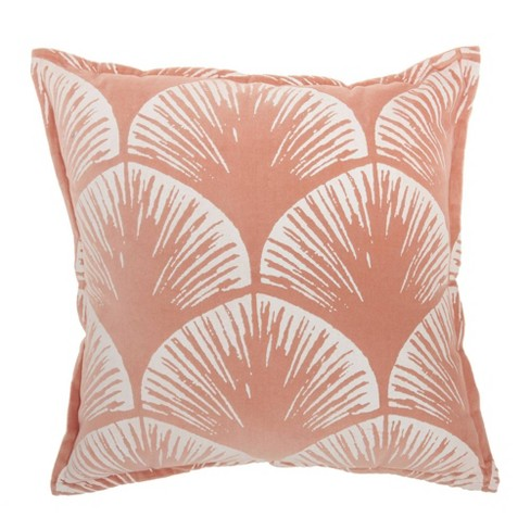 "18""x18"" Life Styles Velvet Scallops Throw Pillow Coral - Mina Victory - image 1 of 4"