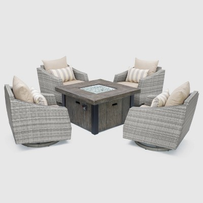 Cannes 5pc All-Weather Wicker Outdoor Fire Pit Conversation Set - Slate Gray - RST Brands