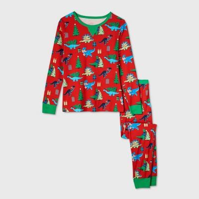 Women's Holiday Dinosaur Print Matching Family Pajama Set - Wondershop™ Red S