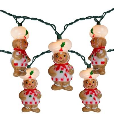 Kurt S. Adler 10-Count Clear Gingerbread Mini Christmas Light Set, 9.3ft Green Wire