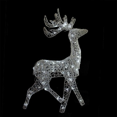 "Brite Star 52"" LED Lighted Elegant White Glittered Reindeer Christmas Outdoor Decoration"