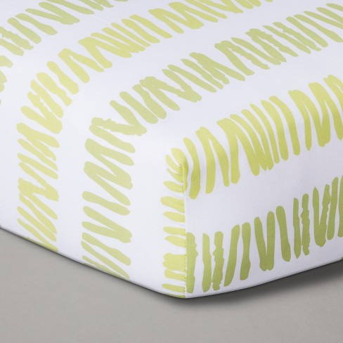 Fitted Crib Sheet Green White - Cloud Island™ Green - image 1 of 2