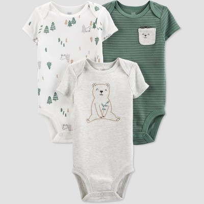 Baby Boys' 3pk Bear Bodysuit - Just One You® made by carter's Green/Off-White/Gray Newborn