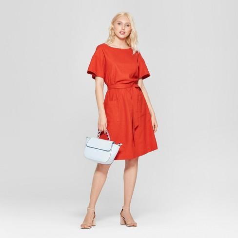 f86c707121 Women s Short Sleeve Crew Neck Tie Waist Dress - A New Day™ Rust ...