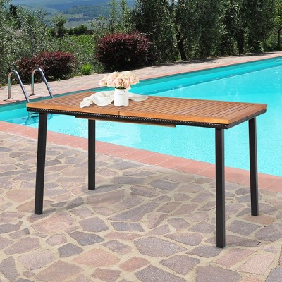 Costway 55'' Patio Rattan Dining Table Acacia Wood Table Top Umbrella Hole