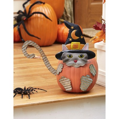 Lakeside Halloween Cat Carve-Free Metal Pumpkin Stakes - No Mess Decorations - 6 Pieces