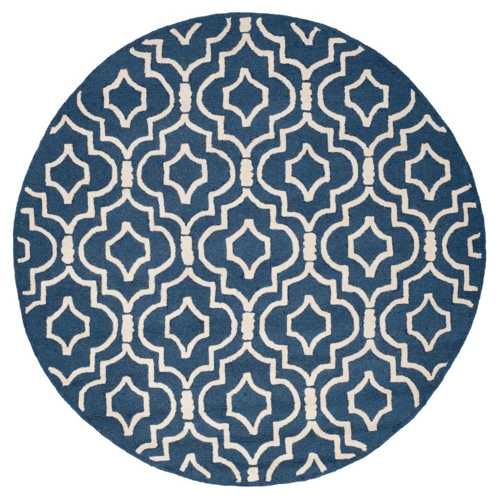 Tahla Texture Wool Rug - Navy Blue / Ivory (6' X 6' Round) - Safavieh, Blue/Ivory
