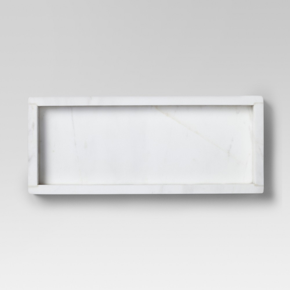 Small Rectangle Serving Tray Marble White - Threshold