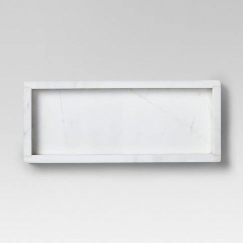 """12"""" x 5"""" Marble Rectangle Serving Tray White - Threshold™ - image 1 of 2"""