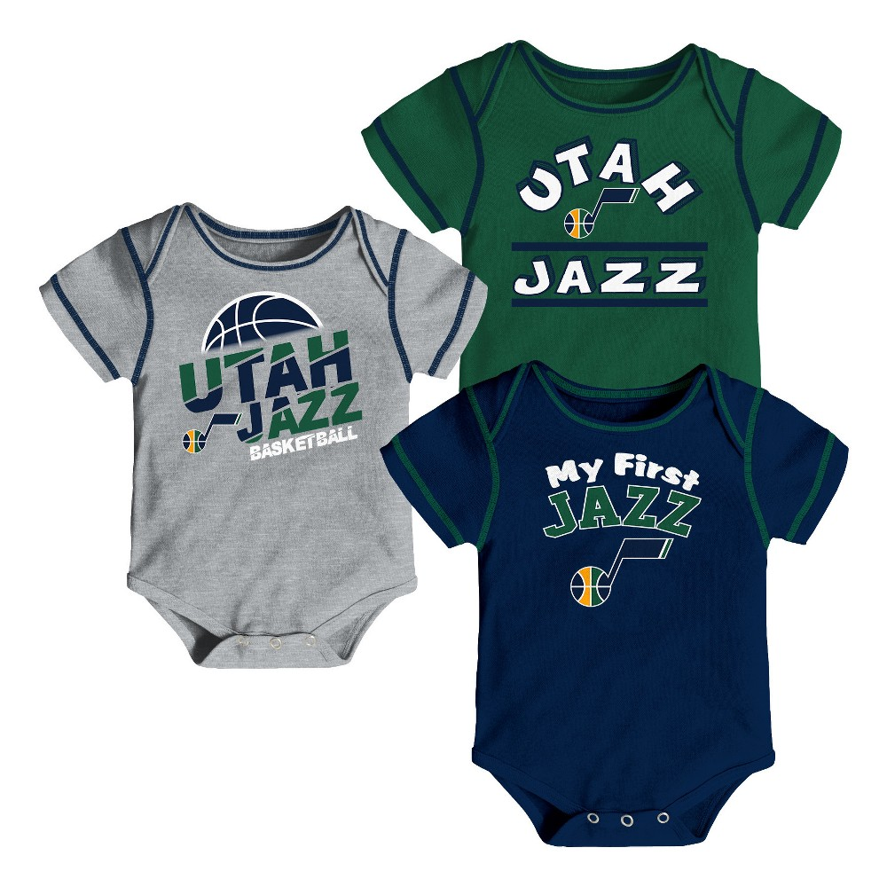 Utah Jazz Boys' Rookie 3pk Body Suit Set 3-6M, Multicolored
