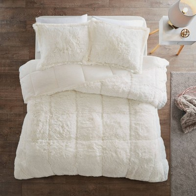 Leena Full/Queen 3pc Shaggy Faux Fur Comforter Set Ivory
