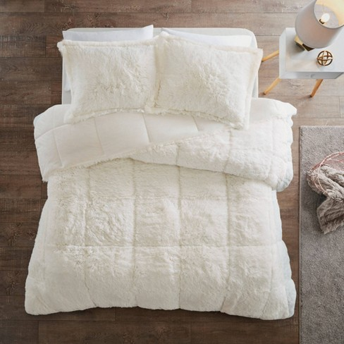 Leena King/California King 3pc Shaggy Faux Fur Comforter Set Ivory