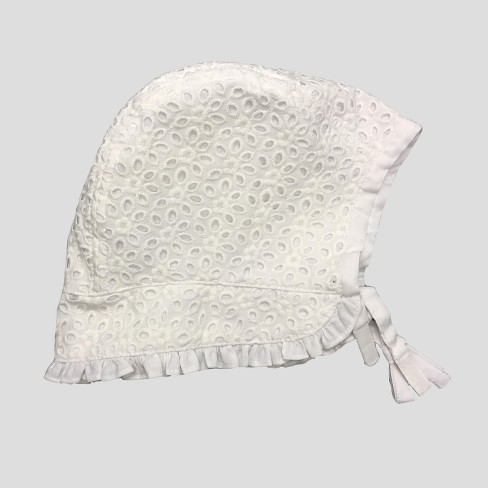Baby Girls  Eyelet Bonnet - Cat   Jack™ White   Target 93406411e3f9