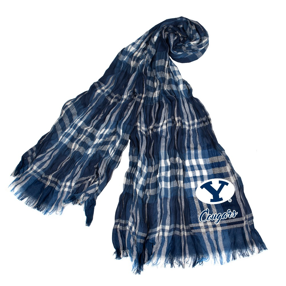 NCAA Byu Cougars Little Earth Plaid Crinkle Scarf, Adult Unisex
