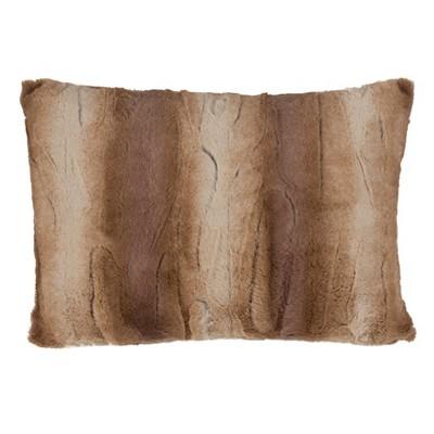 """14""""x20"""" Lumbar Animal Print Faux Fur Throw Pillow Tan - Saro Lifestyle"""