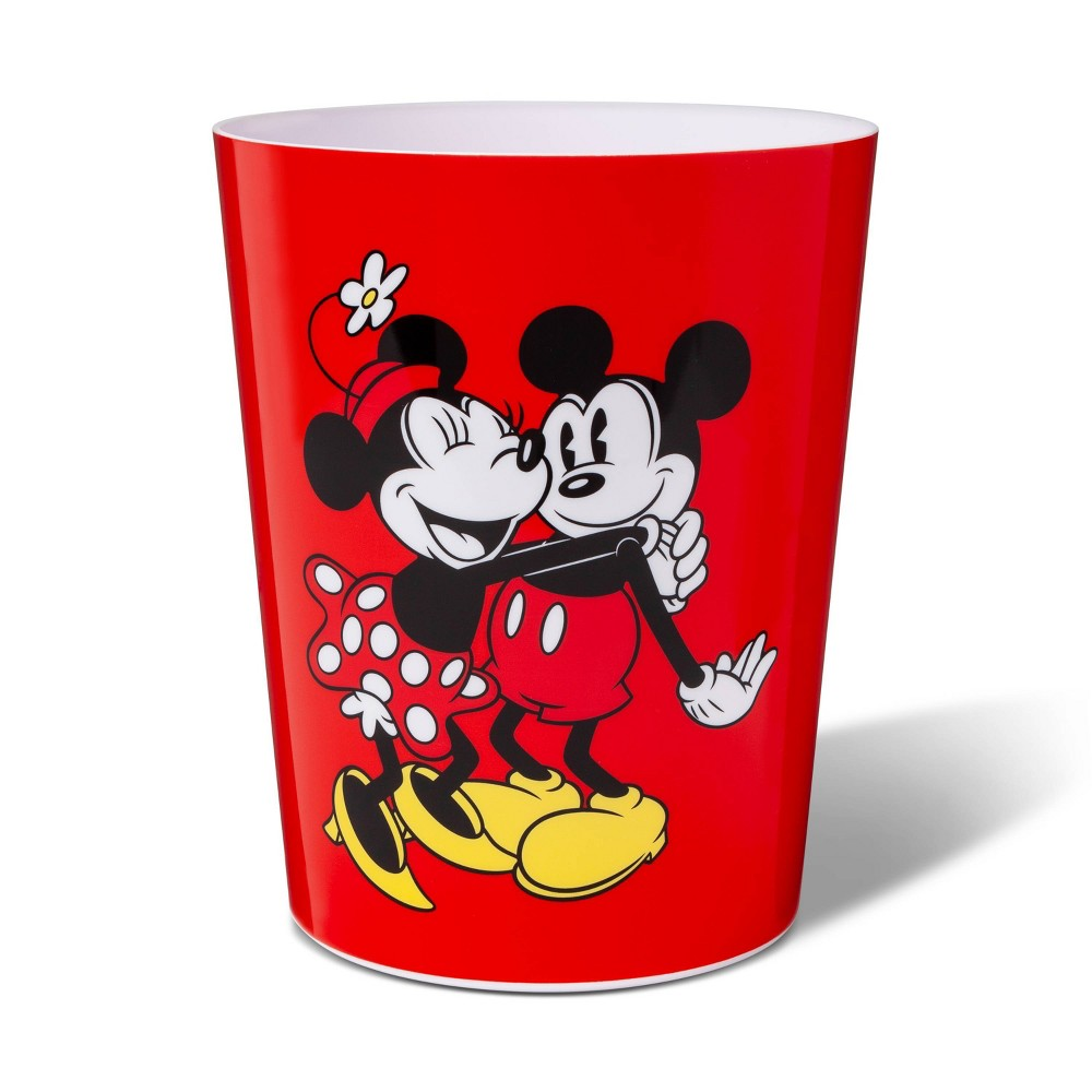 Image of Mickey Mouse & Friends Mickey/Minnie Mouse Bathroom Trash Bin, Red