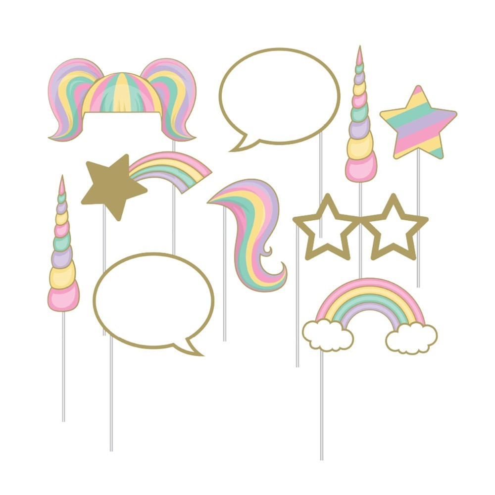 Image of 10ct Unicorn Sparkle Print Assorted Photo Booth Props