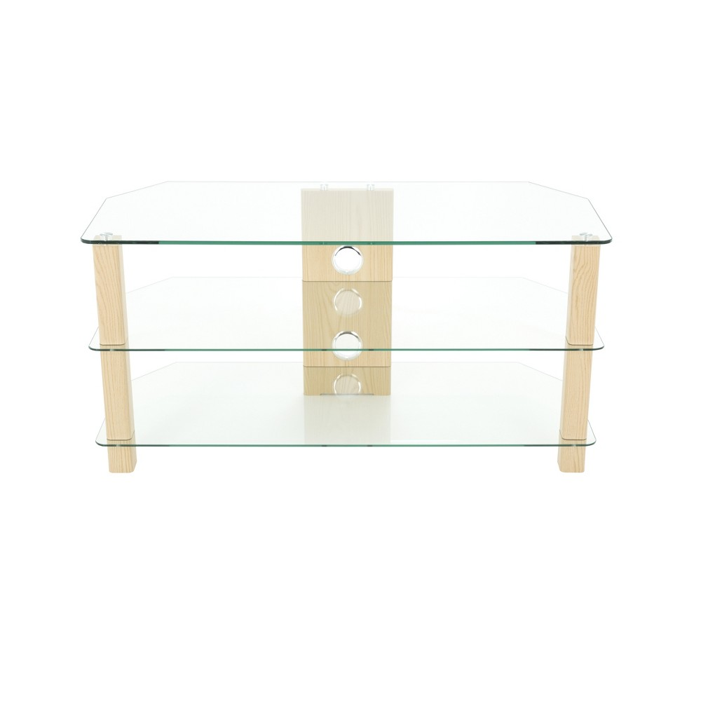 "Image of ""50"""" TV Stand with Glass Shelves - Oak/Clear, Brown"""