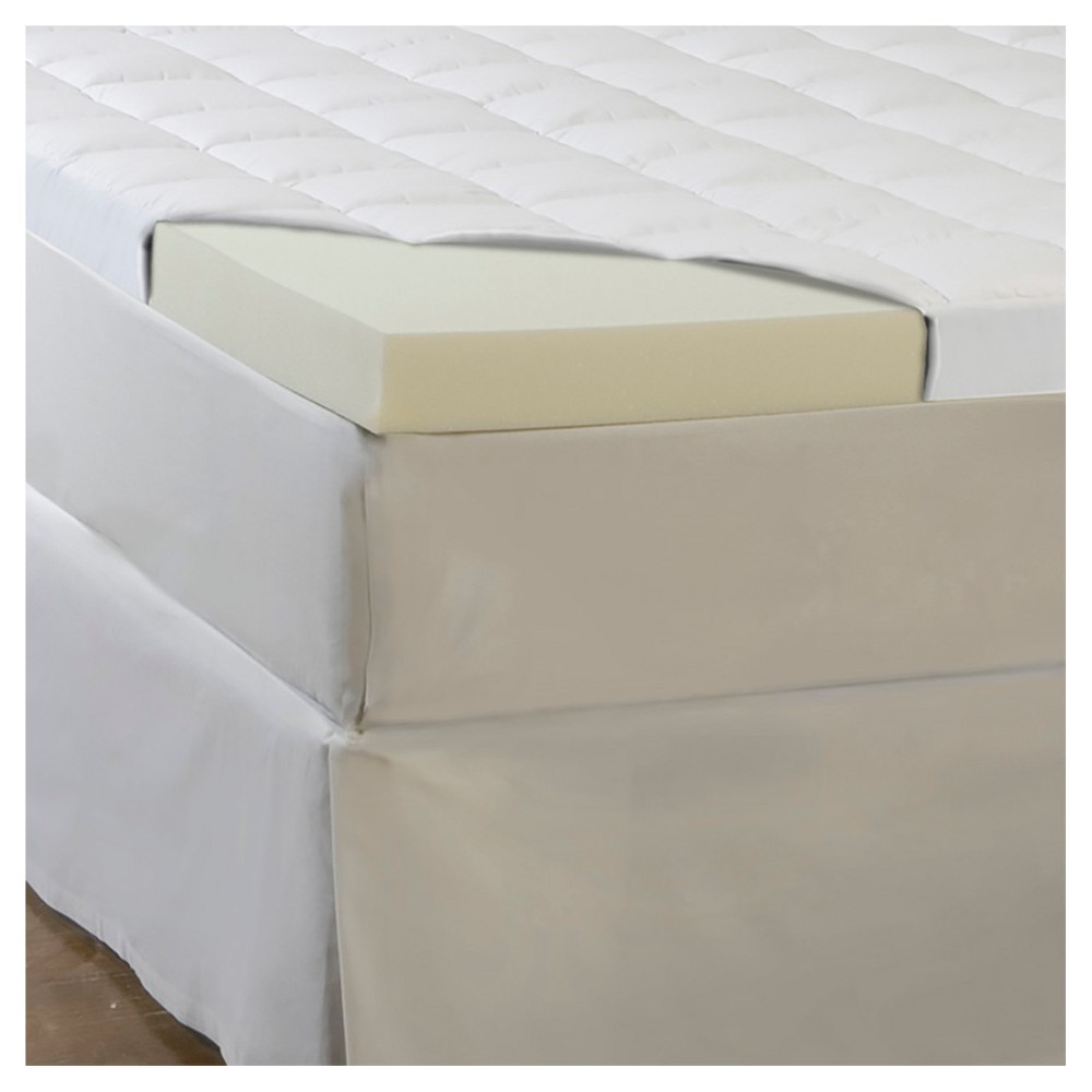 "Image of ""ComforPedic Loft from Beautyrest 4.5"""" Memory Foam/Fiber Topper - White (Cal King), Size: California King"""
