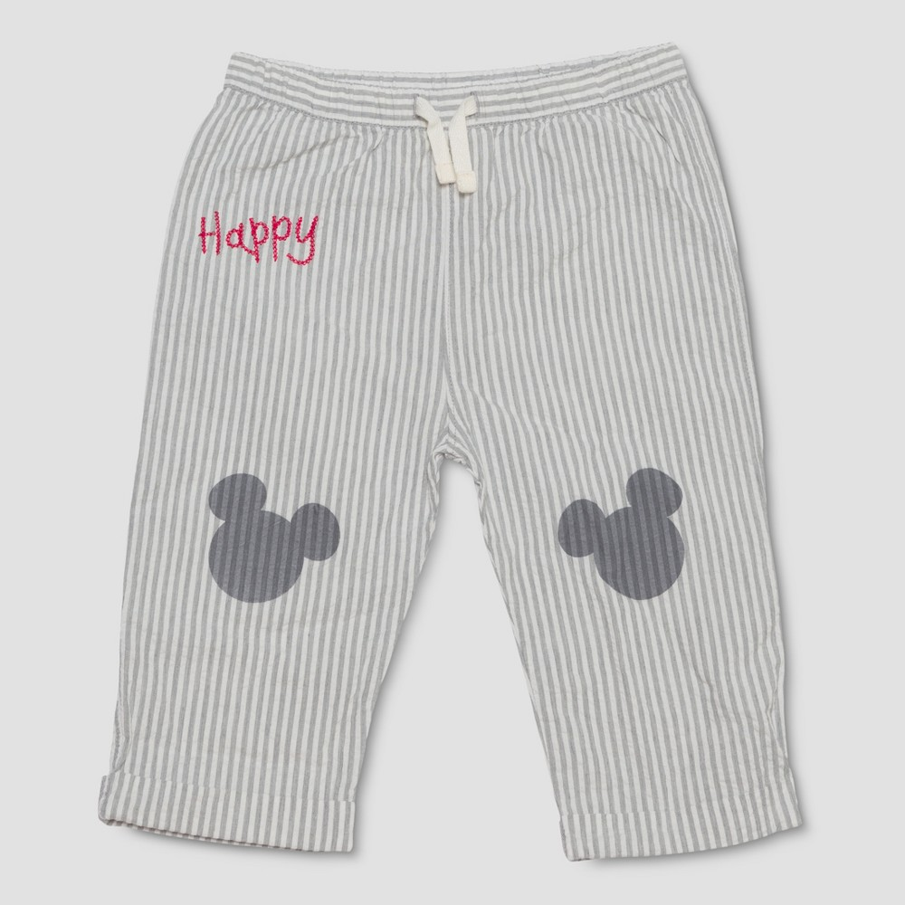 Junk Food Toddler Boys' Disney Mickey Mouse Striped Pants - Gray 2T