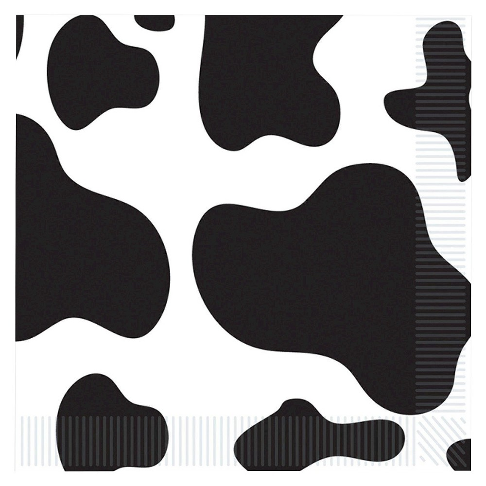 Image of 16ct Cow Print Dinner Napkin, Multi-Colored