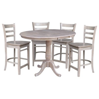"""36"""" Round Extendable Dining Table with 4 Madrid Counter Height Barstools Washed Gray/Taupe - International Concepts"""
