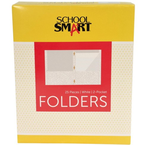School Smart Folder with Fasteners, 2-Pocket, White, pk of 25 - image 1 of 4