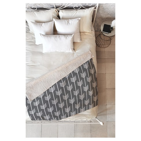 "Gray Geometric Holli Zollinger Arrows Gray Sherpa Throw Blanket (50""X60"") - Deny Designs® - image 1 of 1"