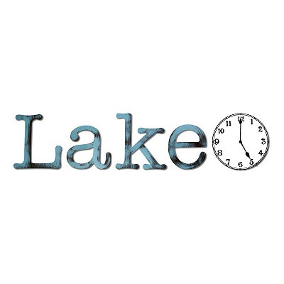 "40""x9"" Hand Painted 3D Wall Sculpture Lake Time Blue Radiance - Letter2Word"