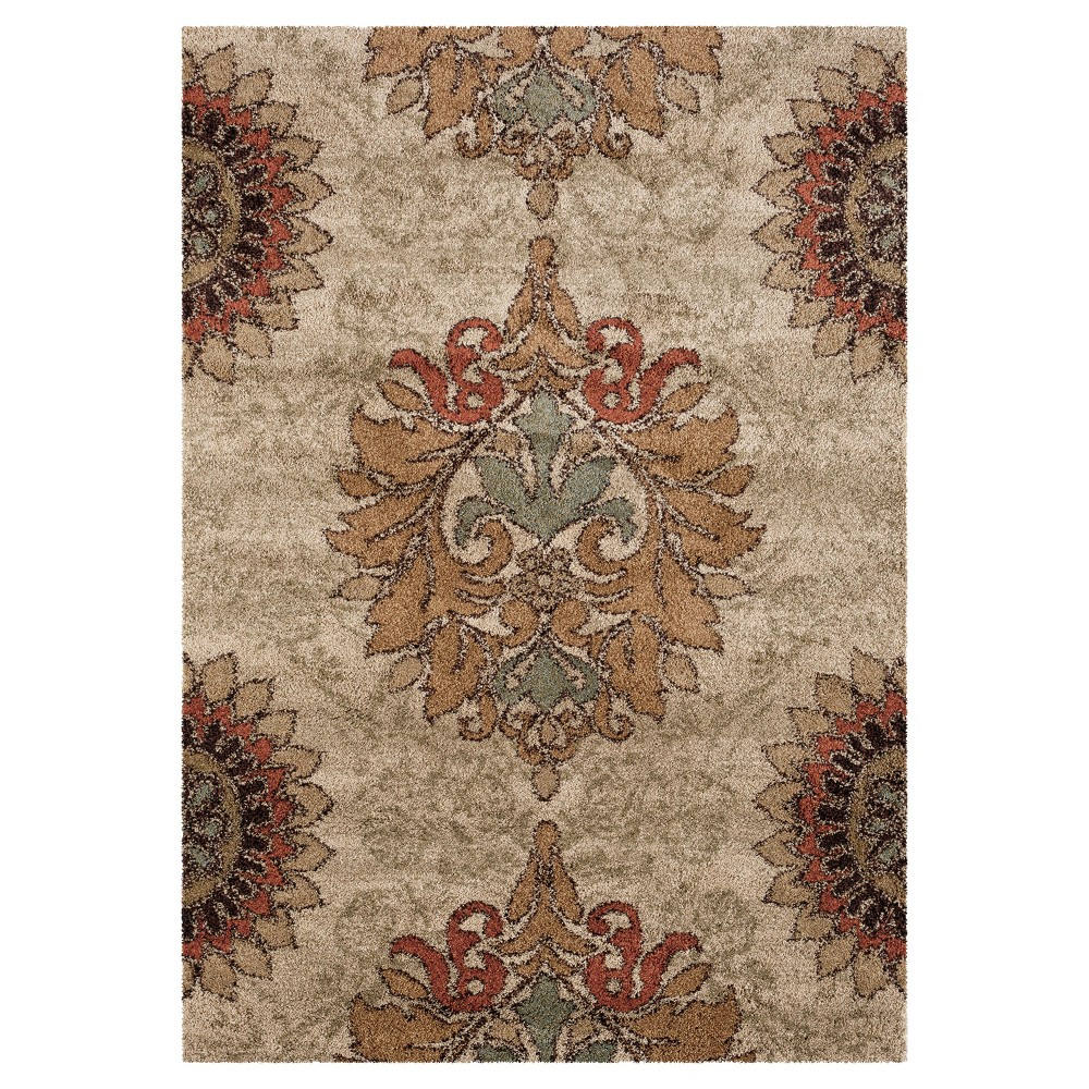 "Image of ""Beige Abstract Woven Area Rug - (5'3""""X7'6"""") - Orian"""