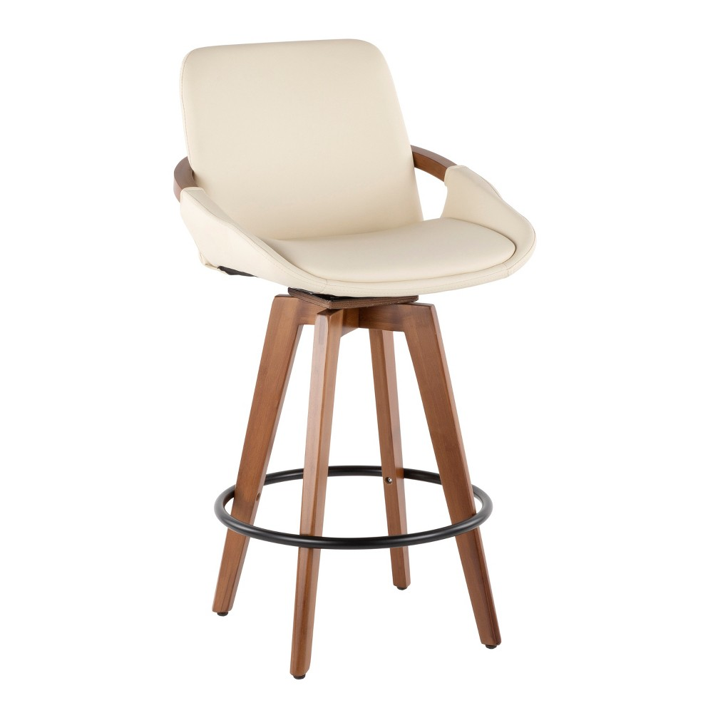 "Image of ""26"""" Cosmo Mid-Century Modern Counter Stool Cream/Walnut - LumiSource, Beige Brown"""
