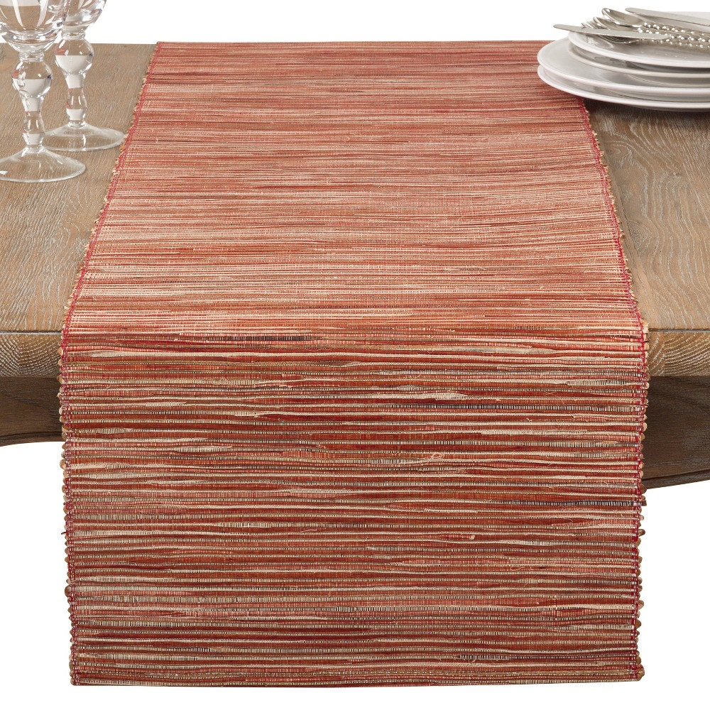 Rusted Red Stripe Table Runner Saro Lifestyle